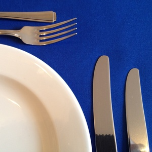 """ROYAL BLUE LINEN TABLECLOTH 70"""" x 108"""""""