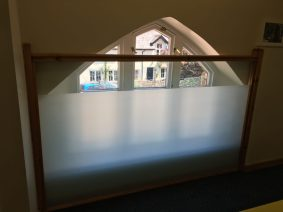 Glass Panel with Matte 5 Mil Safety Film and Clear 4 Mil Safety Film