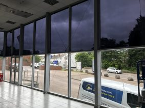 Showroom windows requiring window tint removal
