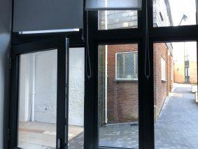 Interior windows before applying Hanita Matte privacy film