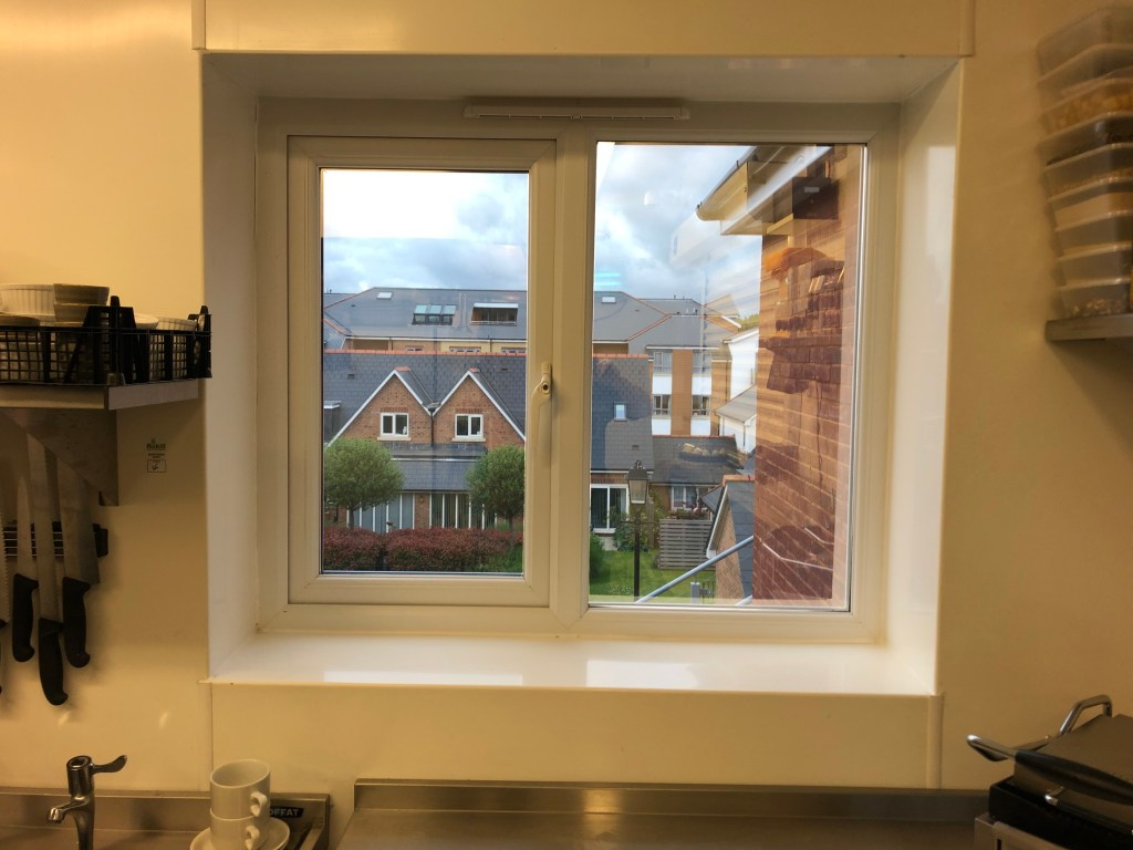 Hanita Silver 20 Window Film installed to help reduce heat in this commercial kitchen