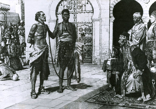 Cervantes brought before Hassan Pasha, the King of Algiers