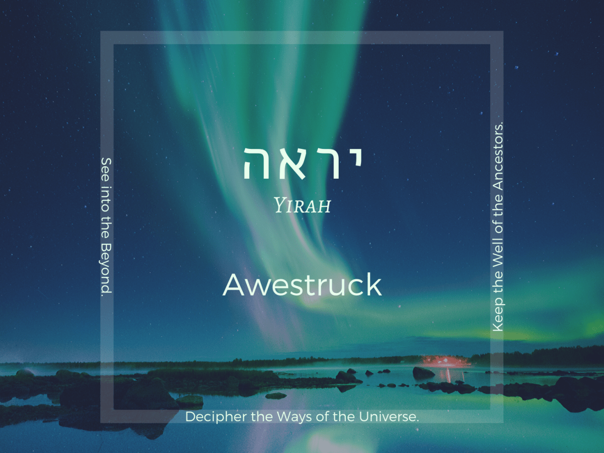 Yirah: Awestruck - Soul-trait of Kislev || words over image of aurora borealis - northern lights - reflected on water