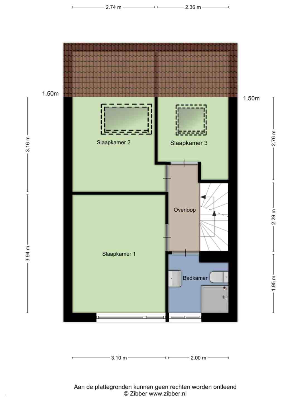 Plattegrond Ouverturelaan 59 - Eerste verdieping