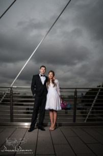 Wedding Couple on Bridge overlookign Thames