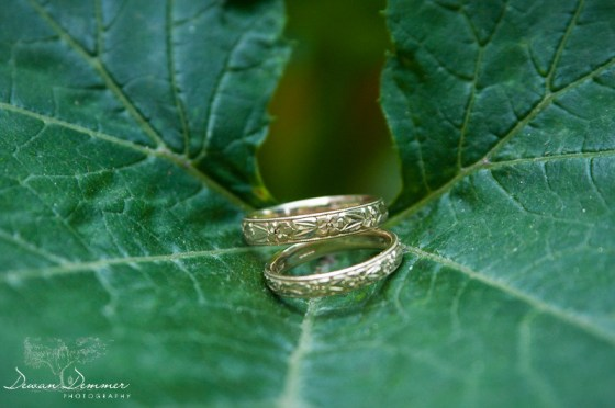 The Wedding rings on a leaf in Stoke Newington, London