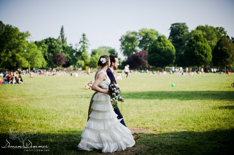 Bride and Groom walk in Clissold Park, London
