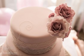 Top of Cake with pink flowers