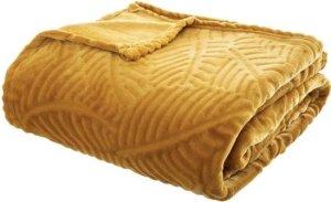 Plaid | Okergeel | Fleece-plaid met palmblad patroon bol.com