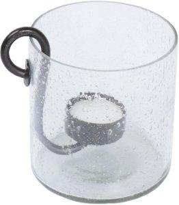 Glazen vaas met metalen kaarsenhouder bol.com