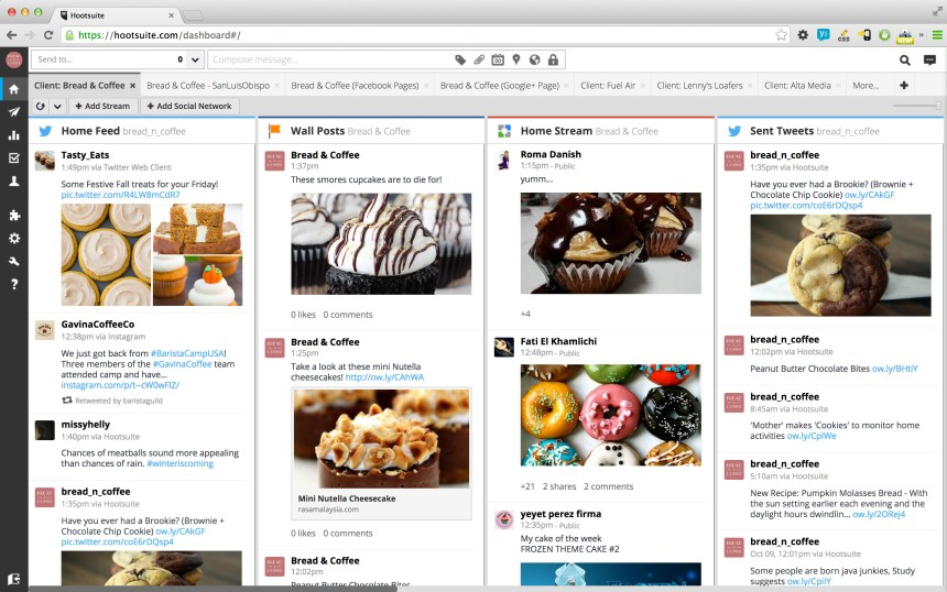 Hootsuite dashboard