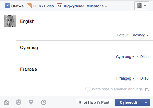 Diweddariad Facebook mewn mwy na un iaith