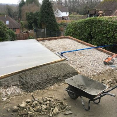 Construction of new garage base, Deneside, East Grinstead