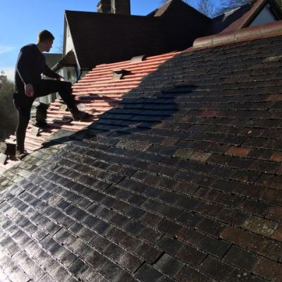 Tiling of garage roof, Deneside, East Grinstead