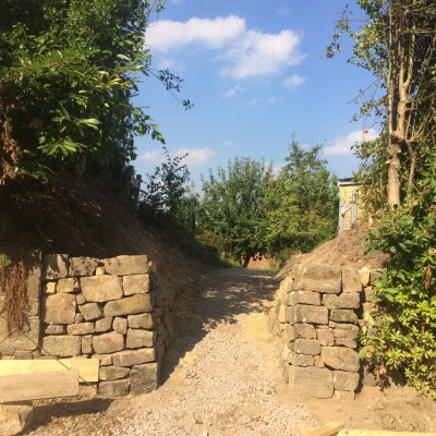Sandstone wall at entrance to new approach, Lynton, East Grinstead