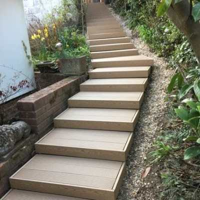 Completed stairs in composite decking, South View, Crowborough