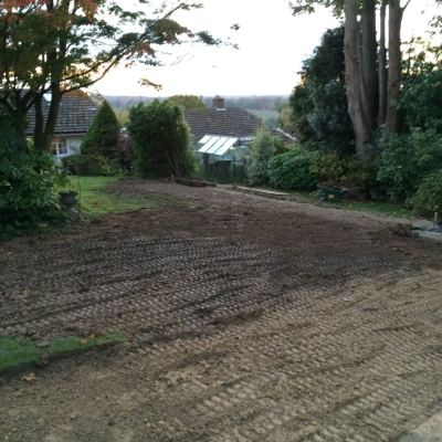 Levelling of lawn in progress, Littlewood, Sussex