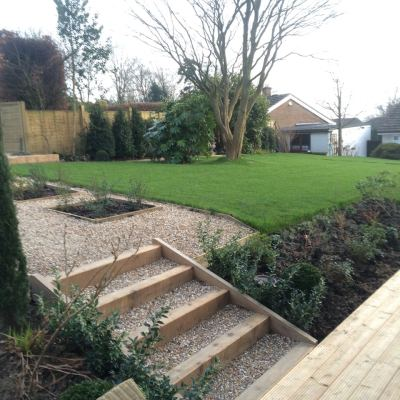 Newly planted and turfed garden for two homes, Littlewood, Sussex