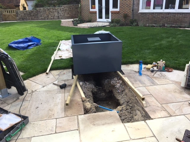 Installation of water feature, Lynton, East Grinstead