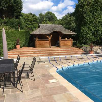 Pool house steps and restored pool side paving, Brownheath, Buxted