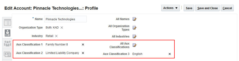 R12 account management additional classifications