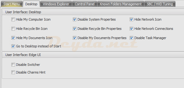 Policies and Profiles Environmental Settings Desktop