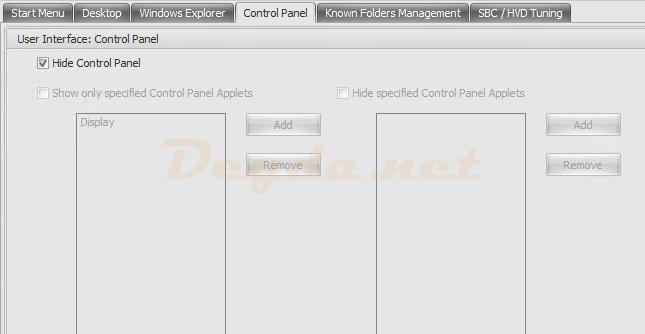 Policies and Profiles Environmental Settings Control Panel