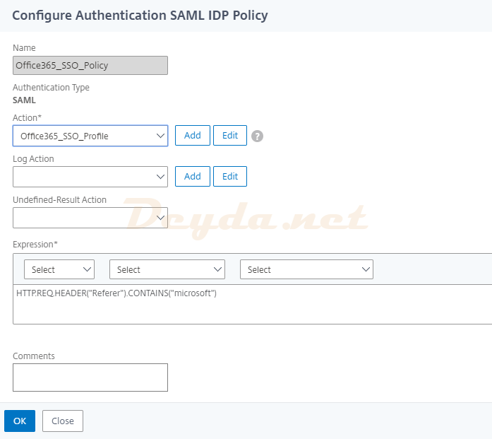 Configure Authentication SAML IDP Policy