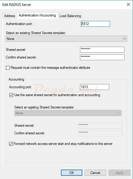 Add RADIUS Server Authentication/Accounting
