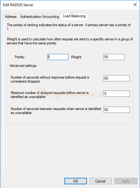 Add RADIUS Server Load Balancing