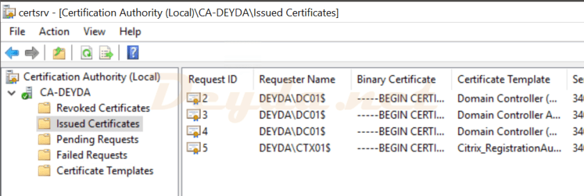 Certification Authority Issued Certificates FAS Server
