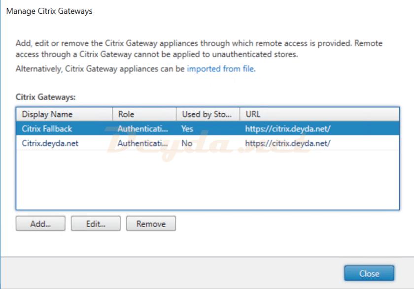 Manage Citrix Gateways ADD EDIT FAS