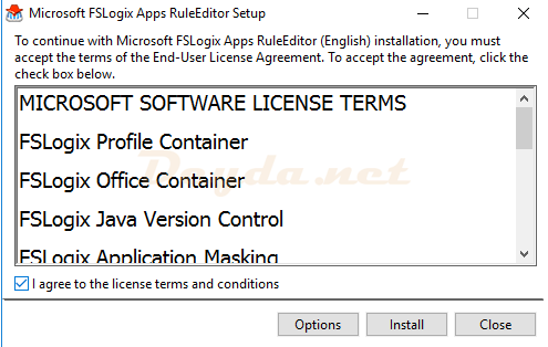 I agree to the license terms and conditions