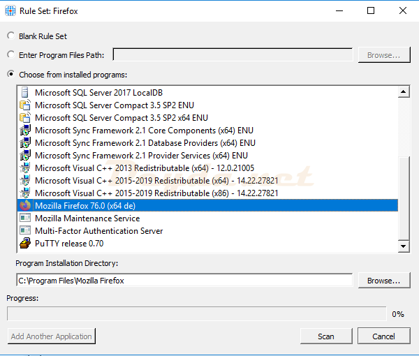 Choose from installed programs