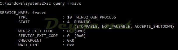 sc query frxsvc