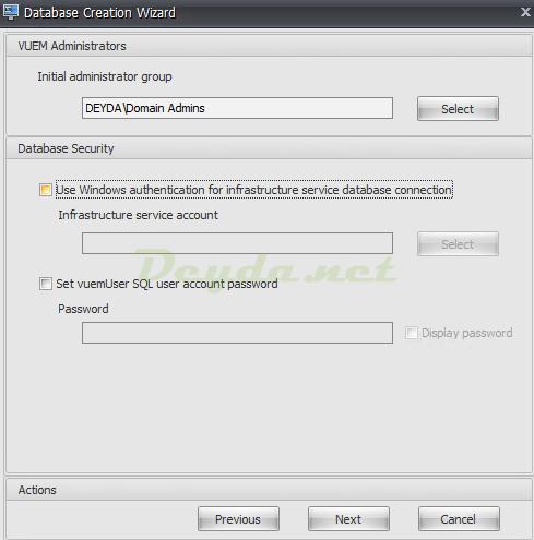 VUEM Administrators Database Security