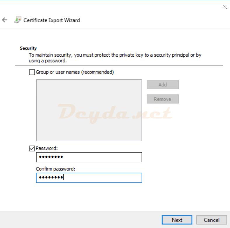 Certificate Export Wizard Security Password