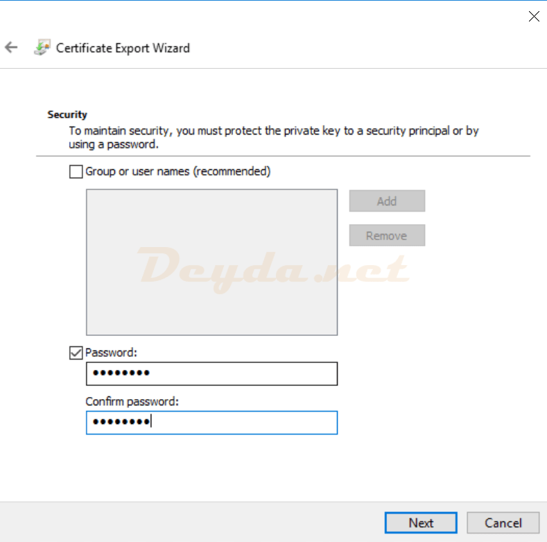 Certificate Export Wizard Security Password