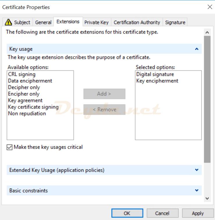 Certificate Properties Extensions