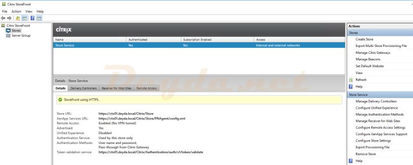 Manage Authentication Methods StoreFront Citrix