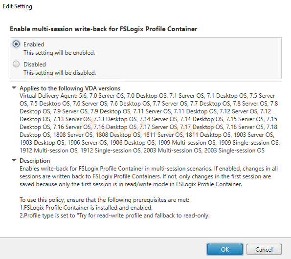 Enable multi-session write-back for FSLogix Profile Container policy