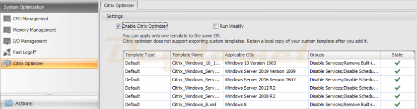 Citrix optimizer is now available in Workspace Environment Management