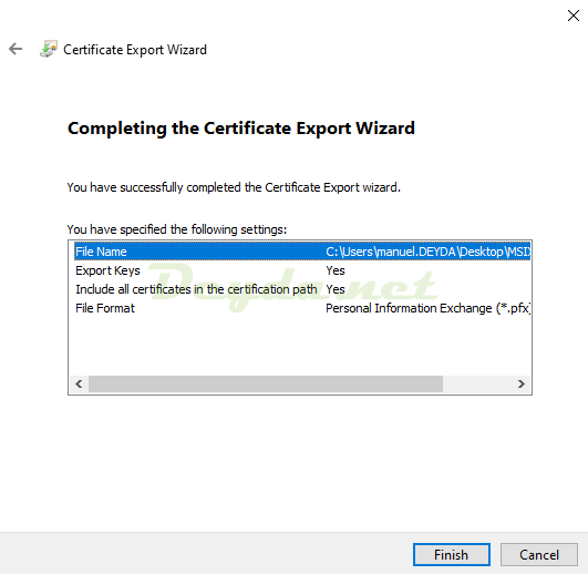 Completing the Certificate Export Wizard