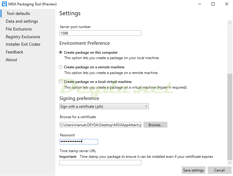 MSIX Packaging Tool Settings