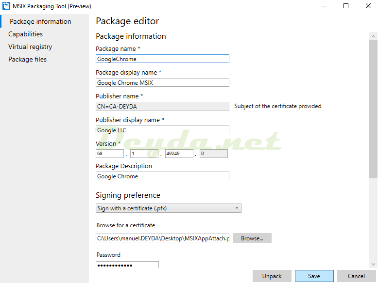 Package editor Package information