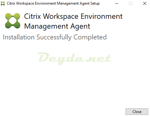 Citrix Workspace Environment Management Agent Installation Successfully Completed