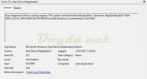 Event ID 212 Error happened while accessing registry