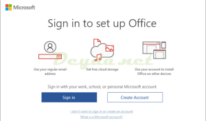 Sign in to set up Office