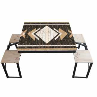 Table Dezyco motif Black and White Wood
