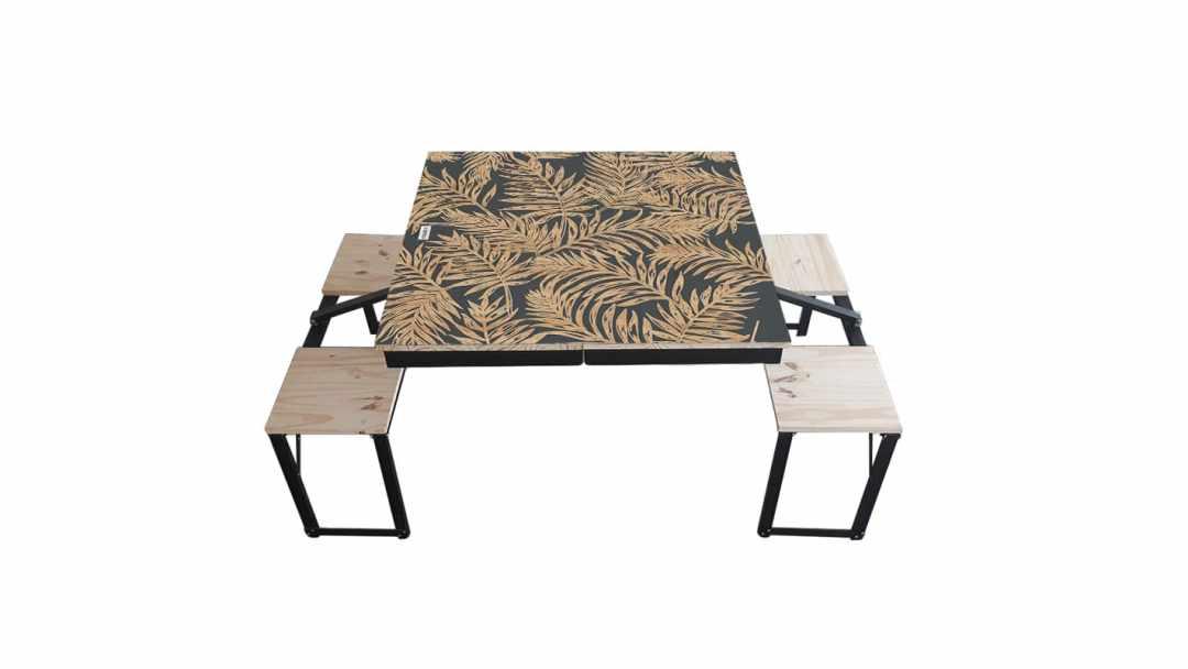 Table Dezyco motif Black Fern